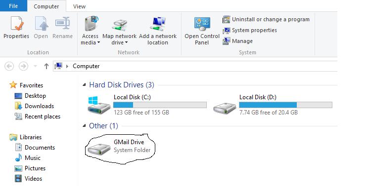 gmail as hard drive